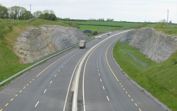 A dramatic cutting through limestone on the M9 Motorway near the Kings River-photo courtesy of Dr. Matthew Parkes, National Museum of Ireland